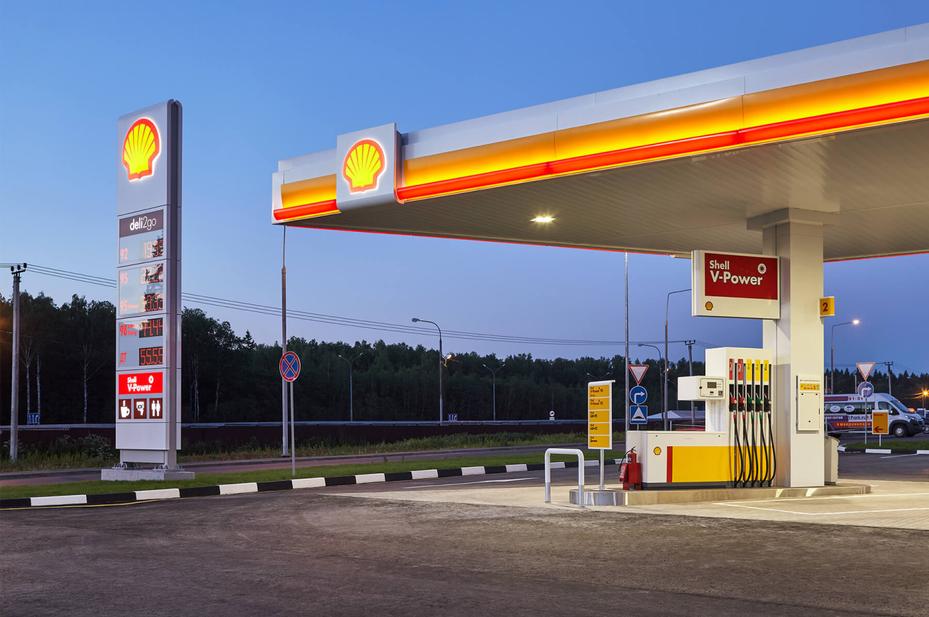 Night view of Shell filling station