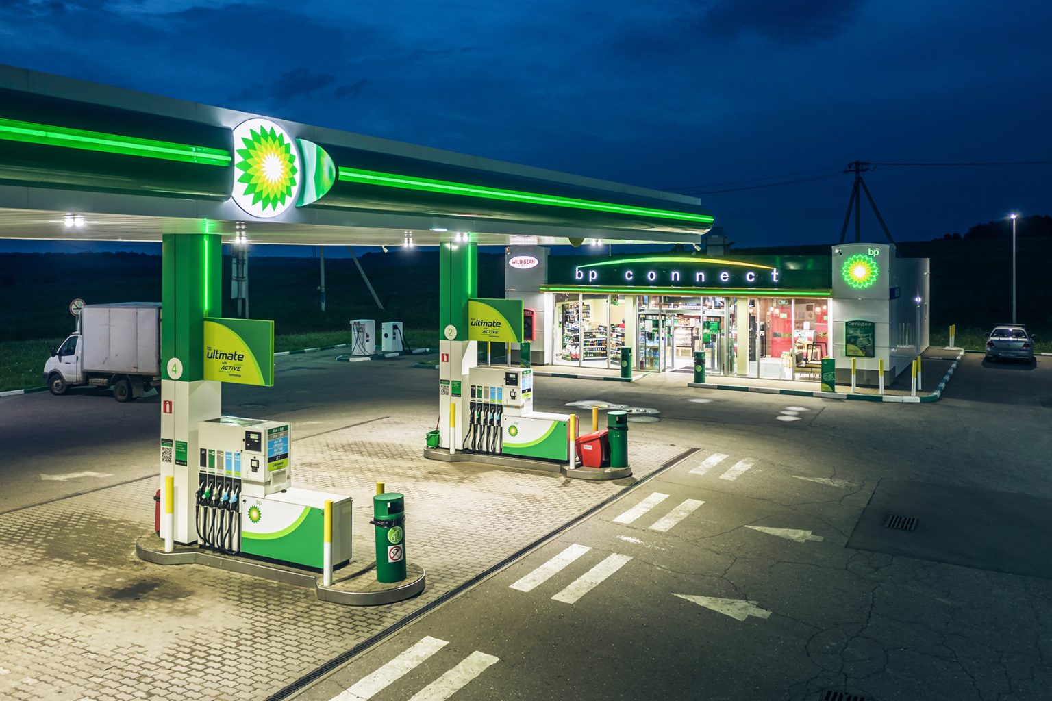 Night view of a canopy BP Filling station